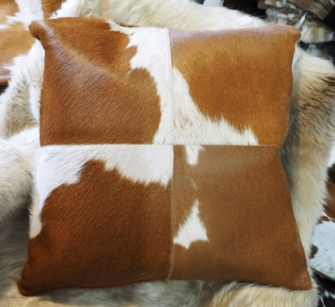 BRW50/6: Lovely markings - A Beautiful 50cm Square Cowhide Cushion
