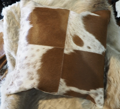 BRWP50/8: A Lovely Speckled Brown and White 50cm Sq Cowhide Cushion