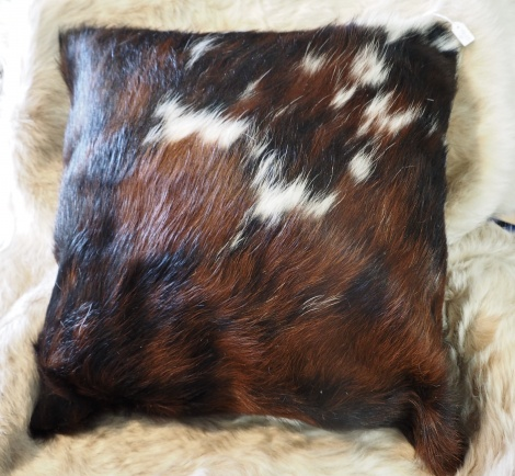 Tri50/8: A Wonderful Tri Coloured Double Sided 50cm Sq Cowhide Cushion