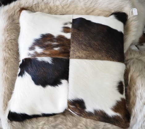 Trip50/3: A Wonderful 50cm Sq tri coloured Cowhide Cushion