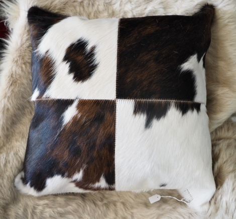 Trip50/4: A Lovely Tri Coloured 50cm Sq Cowhide Cushion