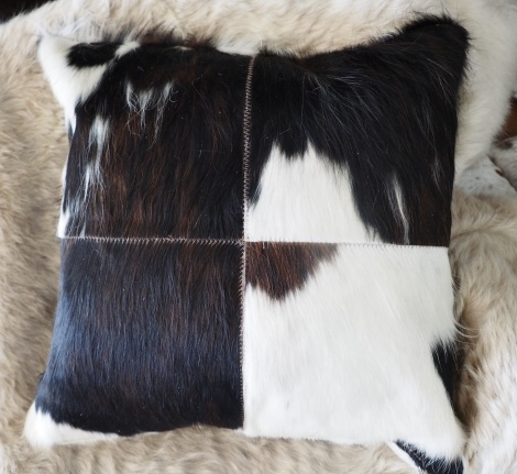 Trip50/7: A Lovely Dark Tri Coloured 50cm Sq Cowhide Cushion