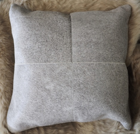 GreyP50/1: A Beautiful 4 patch 50cm Square Soft Steel Grey Cowhide Cushion