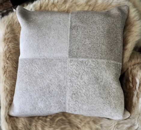 GreyP50/2: A Gorgeous 50cm Square 4 patch Cowhide Cushion