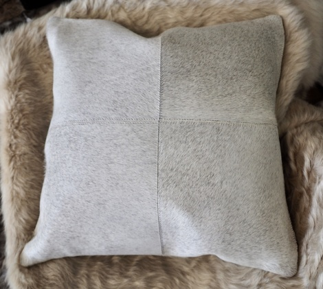 GreyP50/3: A Beautiful Soft Steel Grey 4 patch 50cm Square cowhide Cushion