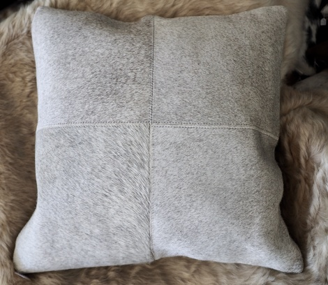 Greyp50/5: A Gorgeous 50cm Square Soft Steel Grey 4 patch cowhide cushion