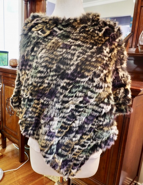 Po/7: A Lovely Black Base with Soft Muted Tones - A Beautiful rabbit Fur Poncho