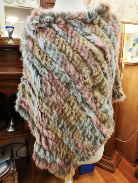 P/11: Soft Pink and Blue - A Delightful light & warm Rabbit Fur Poncho