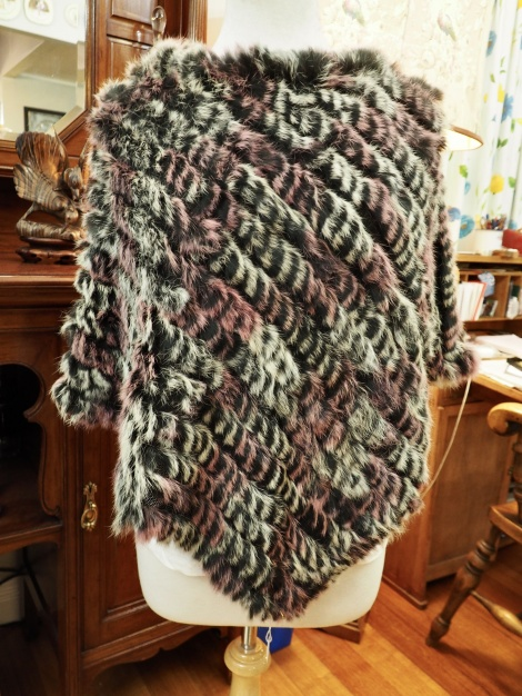 P/12: Frosted Pink & Black - A beautiful Rabbit Fur Poncho