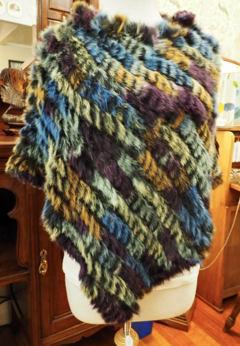 P/13: Stained Glass Like Colouring - A Beautiful Rabbit Fur Poncho