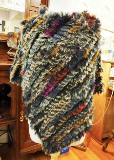 P/18: A Flash of Red - A Gorgeous Multi Coloured Rabbit Fur Poncho