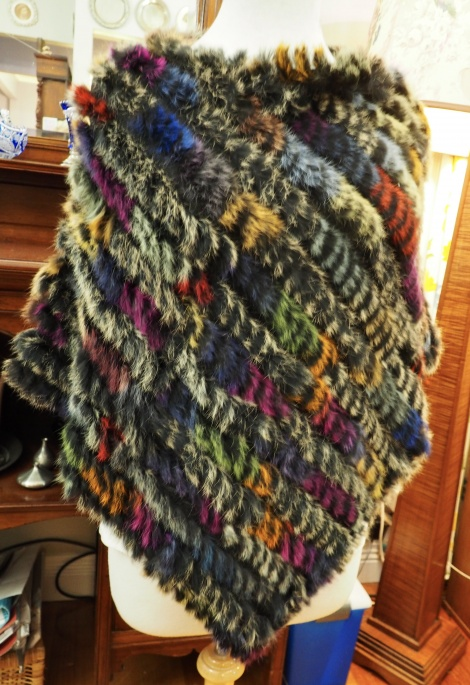 P/19: A Flash of Green - A multi coloured Poncho - Perfect for Winter
