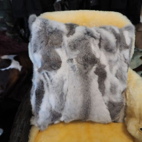 Gorgeous natural Grey and White 50cm Square Lapin Cushion Cover
