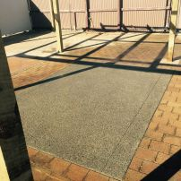 Exposed Aggregate Concrete With Border Cut - California Garden Centre Display Lower Hutt