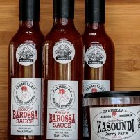 3 BOTTLES OF 'FEISTY' BAROSSA SAUCE & ONE TUB KASOUNDI