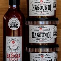 ONE BOTTLE 'FEISTY' BAROSSA SAUCE & 3 TUBS KASOUNDI