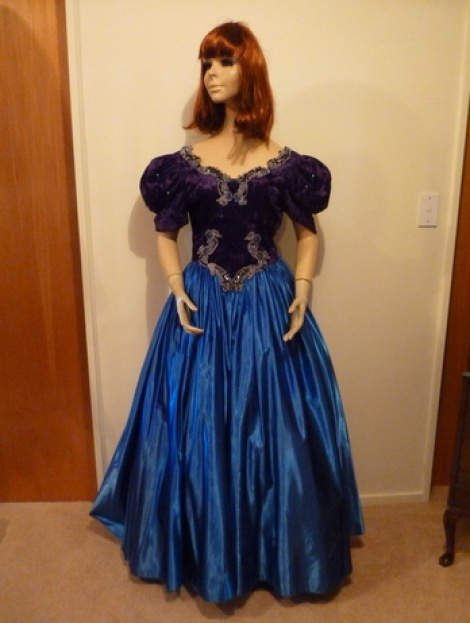Blue and Black Victorian Ball Gown