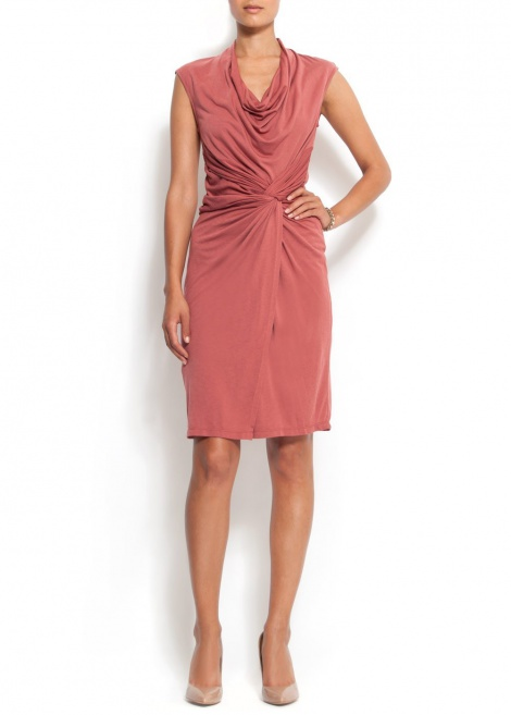 Dusky rose drape dress