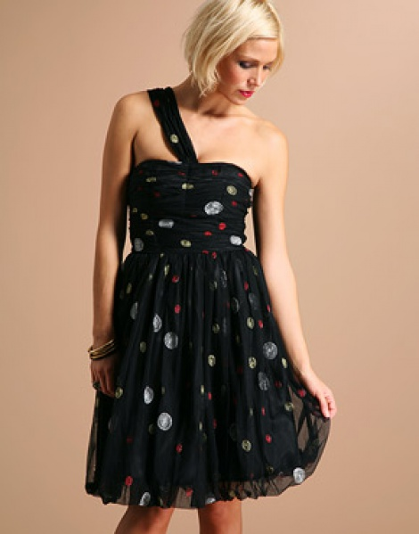 One shoulder bubble hem dress