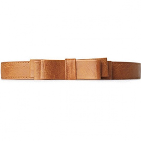 Bow tan leather belt