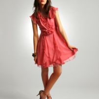 Ruffle dress with corsage