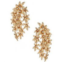 Cascading flower rhinestones clip-on earrings