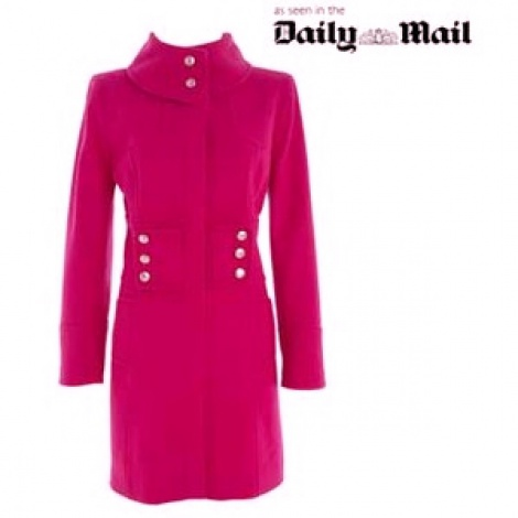 Hot pink military wool coat