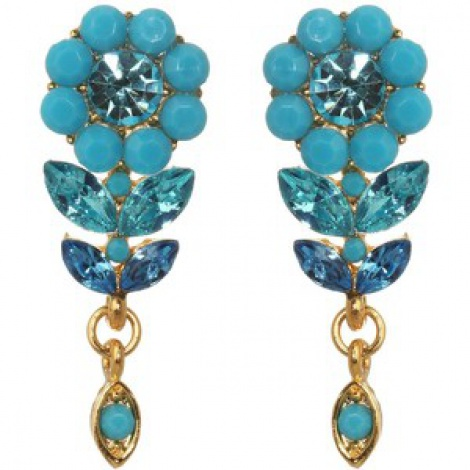 Daisy & leaf aqua crystal earrings