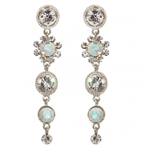 Cascading flower crystal earrings
