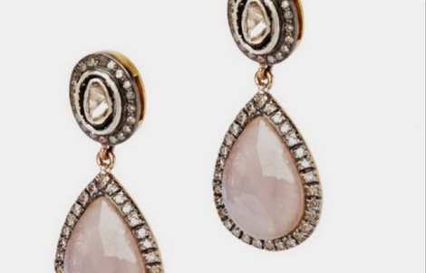 Pink pearl teardrop earrings