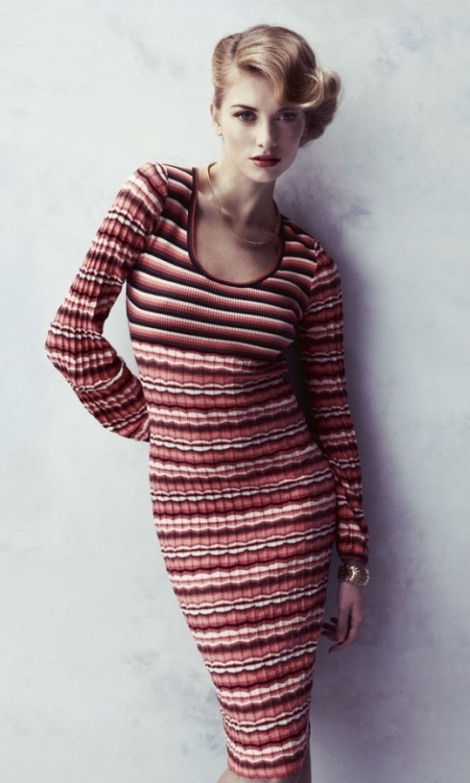 Stripey cotton knit dress