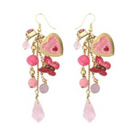 Butterfly & heart charm earrings