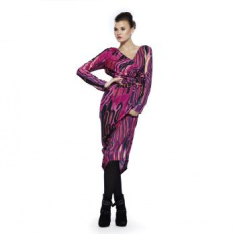Studio54 disco graphic print wrap dress