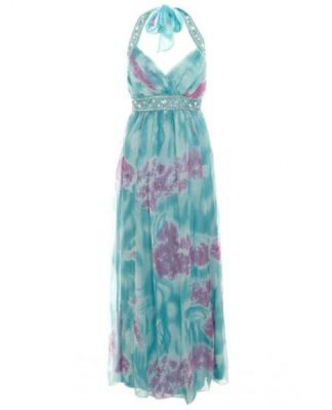 Watercolour jewelled bustier silk chiffon gown