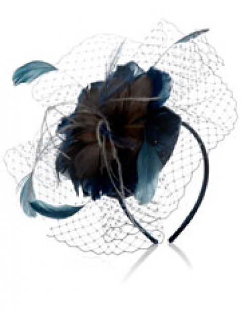 Teal feather flowers pill box veil fascinator