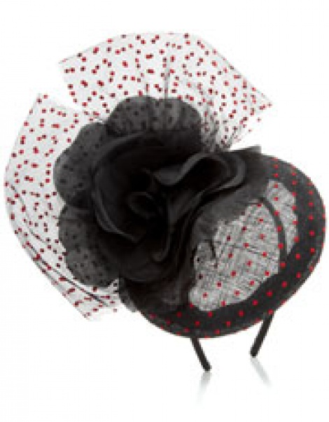 Vintage style polka dot rose & bow fascinator