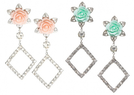 Prada-esque large rose & jewel earrings