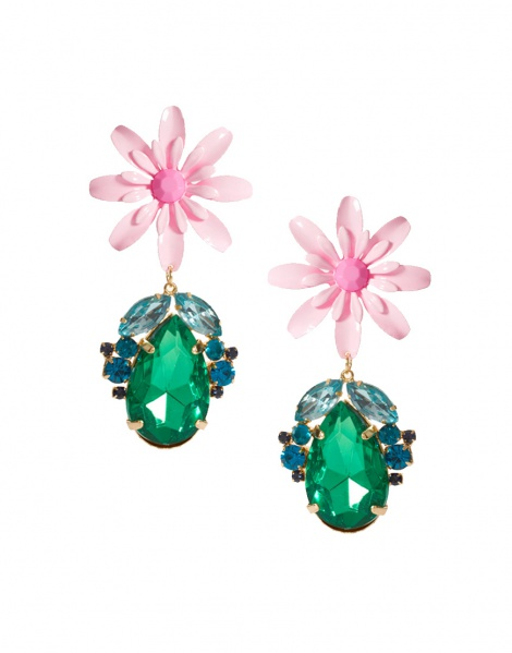Jumbo flower & multicolour crystal earrings