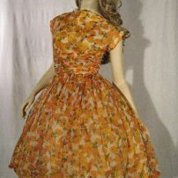 Vintage 50s orange garden party dress