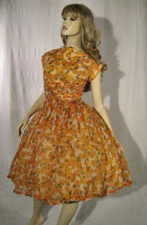 Vintage 50s orange roses garden party dress