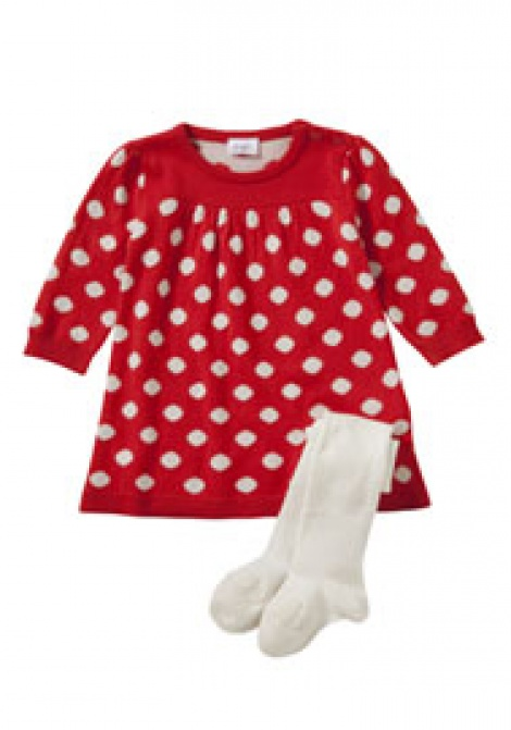 Winter knit baby dress + ballerina shoe tights