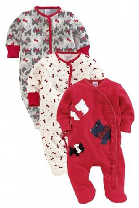 Doggy & bow print all-in-ones with integrated mitts