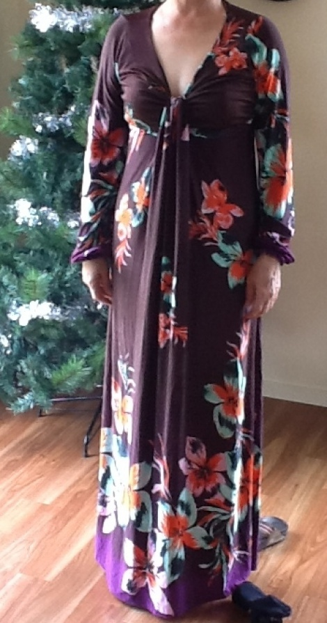 Floral chocolate brown long sleeve maxi