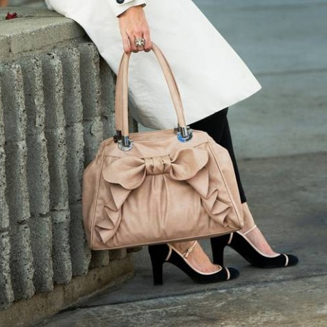 Blush leather look nappy bag