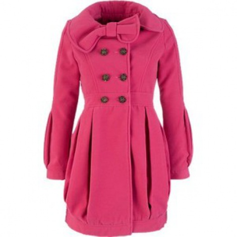 Bow collar velour bubble coat
