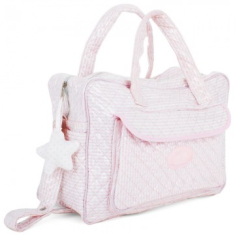 Pink patent quilted baby bag ala Chanel