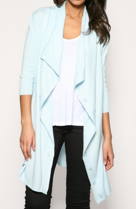 Aqua waterfall cardigan
