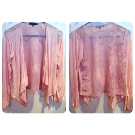 Lace back waterfall cotton cardigan