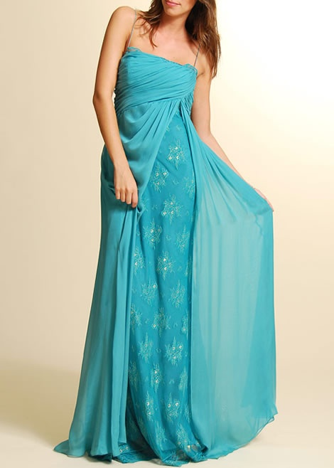 Floaty silk & lace corseted gown with train (sold)