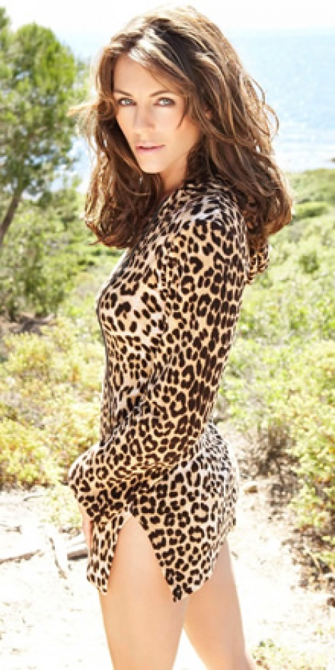 Hooded leopard print dress as seen on Elizabeth Hurley